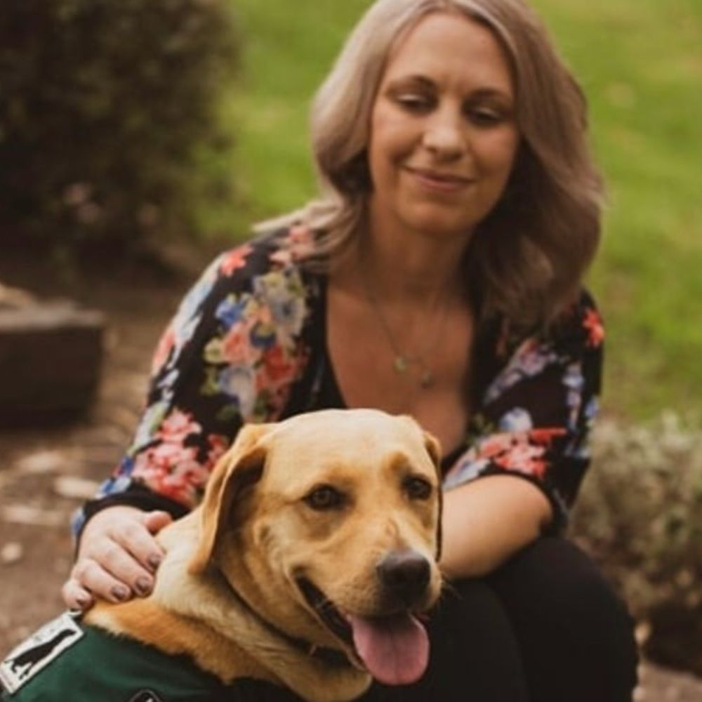 Anita Geary and Bacardi Therapy Dog